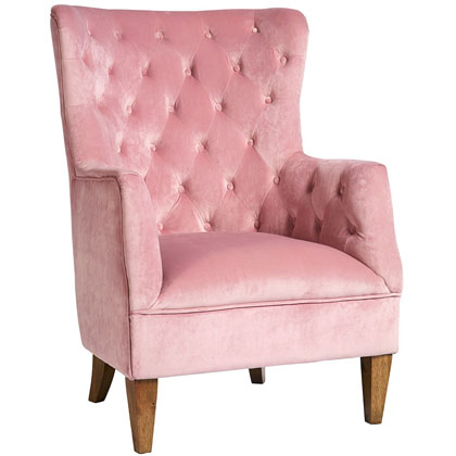 Lotus Velvet Armchair Pale Pink | Country Interiors